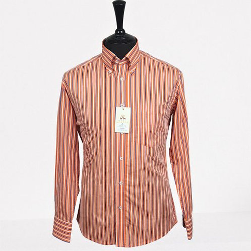 Real Hoxton Orange Blue White Lining Long Sleeve Shirt - 5240
