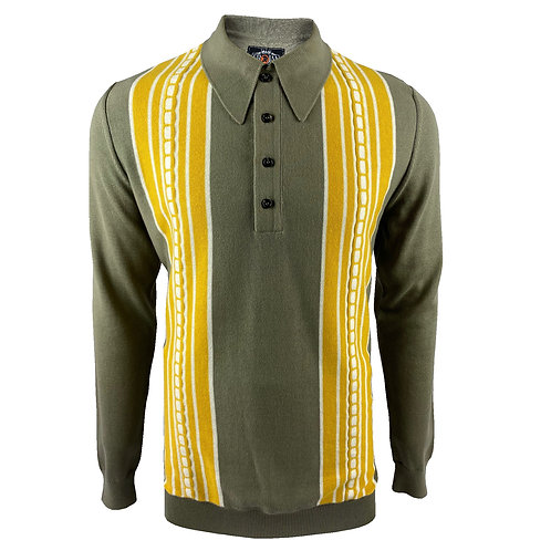 Trojan Cable Stripe Front Fine Gauge Spear-Point Polo - 8564 Slate