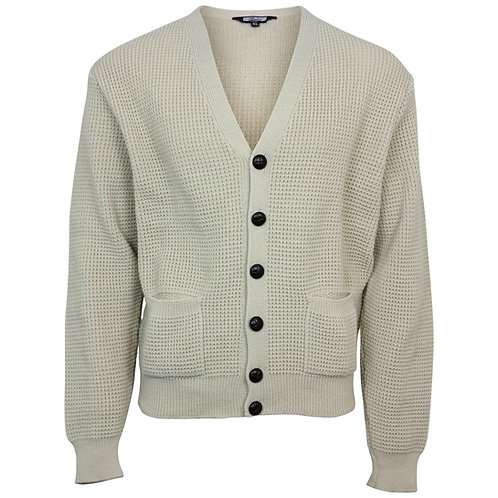 Relco Waffle Knit Cardigan - Stone