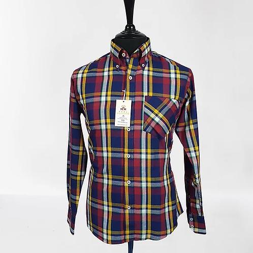 Real Hoxton Purple Yellow Check Long Sleeves Shirt - 5202