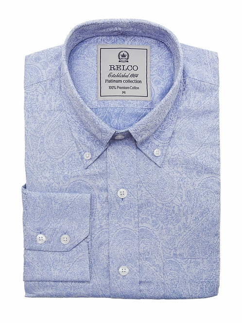 Relco Blue Jaquard Paisley Long Sleeve - RSW 613 PLT