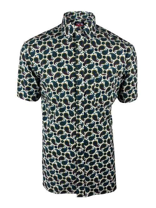 Ska & Soul B/D Paisley Print Shirt - 2358 Petrol