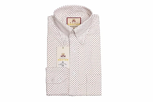 Real Hoxton White Maroon Pin Dot Long Sleeves Shirt - 5181