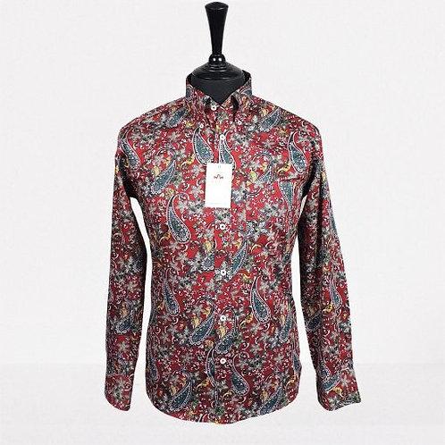 Real Hoxton Red Paisley Long Sleeves Shirt - 5293