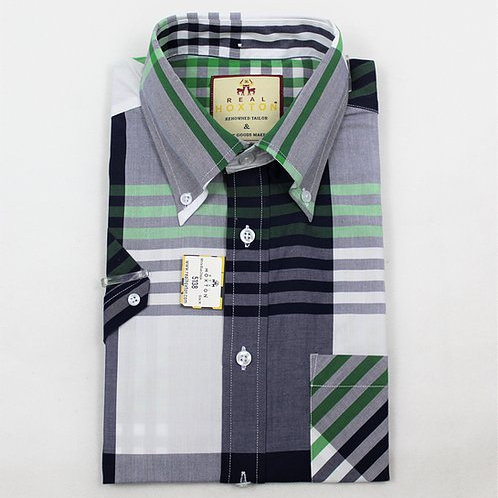 Real Hoxton White Blue Check Short Sleeves - 5138