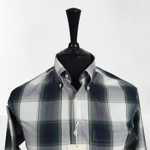 Real Hoxton Grey Green Check Short Sleeves Shirt - 5206