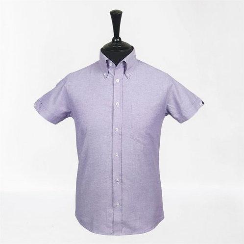 Real Hoxton Purple Oxford Short Sleeves Shirt - 5214