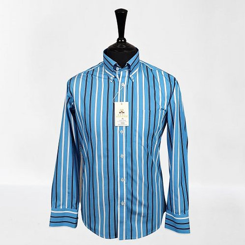Real Hoxton Blue Navy White Stripes Long Sleeves Shirt - 5252