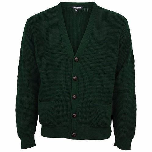 Relco Waffle Knit Cardigan - Green