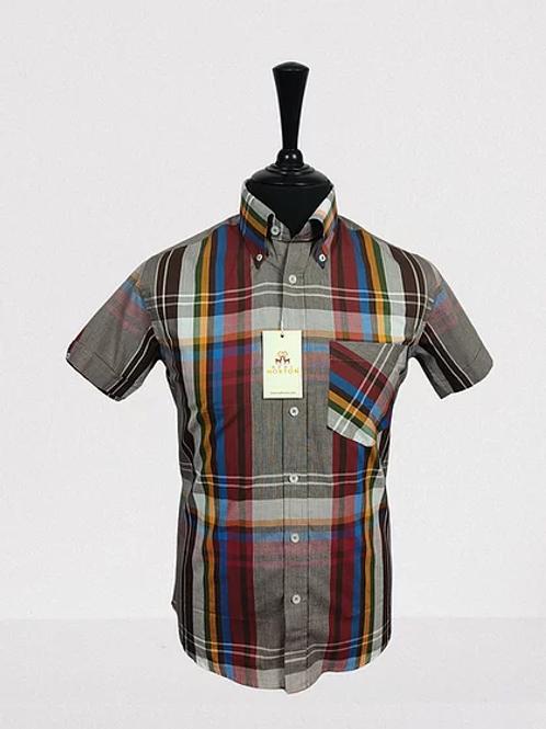 Real Hoxton Red Blue Grey Big Check Short Sleeves Shirt - 5229