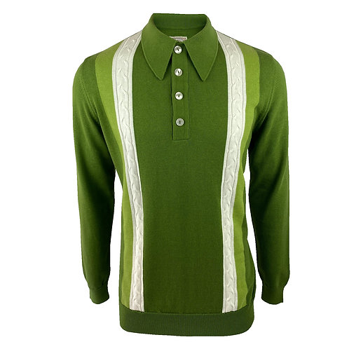 Ska & Soul Cable Stripe Fine Gauge Spear-Point Polo - 2378 Dk Green