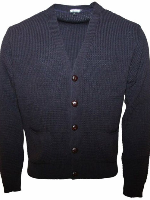 Relco Waffle Knit Cardigan - Navy