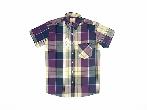 Real Hoxton Purple Check Short Sleeves Shirt - 5173