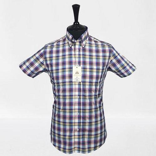 Real Hoxton Blue Red Yellow Gingam Short Sleeves Shirt - 5232