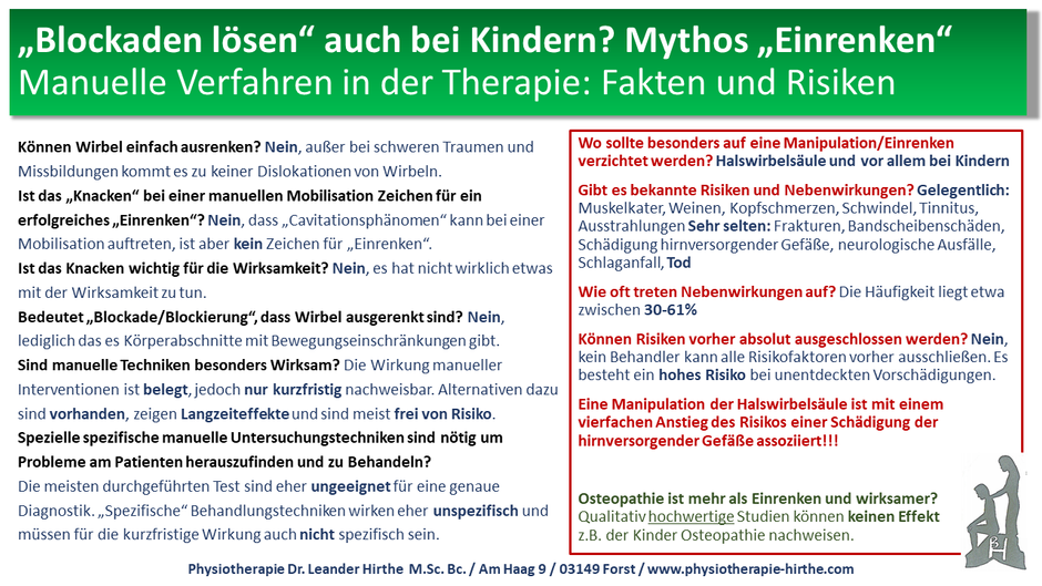 """Mythos """"Einrenken""""! Blockaden lösen auch bei Kindern?"""