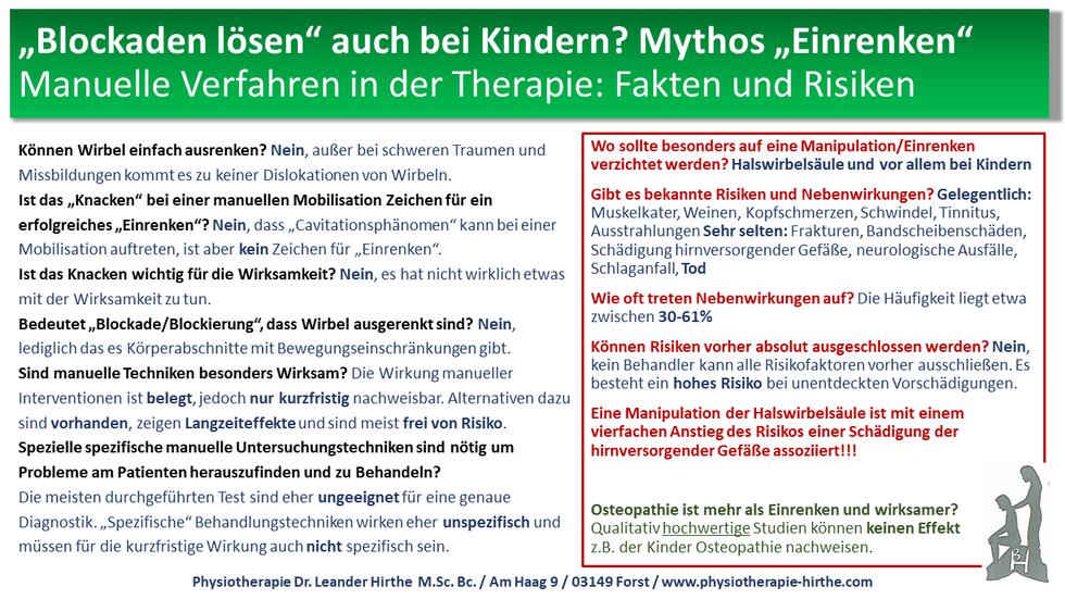 """Mythos """"Einrenken"""", Blockaden lösen auch bei Kindern?"""