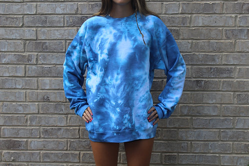 Just Royal Blue Tie Dye Crewneck