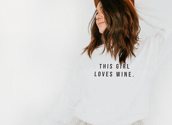 this girl loves wine crew neck