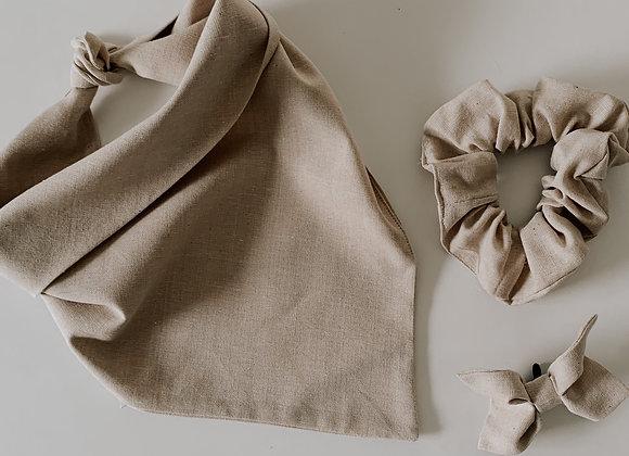 natural linen bandana