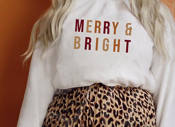 merry & bright color block crew