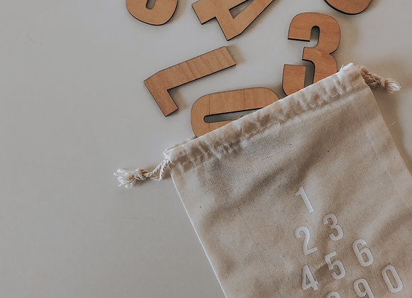 wooden number pouch