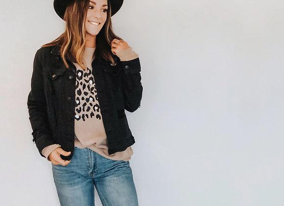 leopard tan crew neck