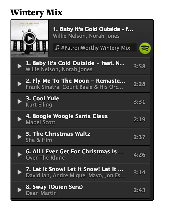 Patron Playlist Wintery Mix
