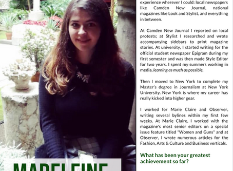 Exclusive Interview with NYC Journalist, Madeleine Streets