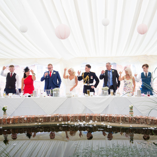 Marquee Wedding at The Coppleridge Inn | Head Table | Pond