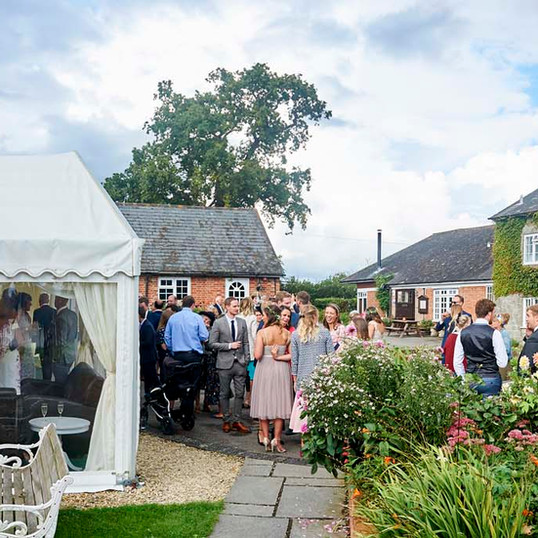 Courtyard at The Coppleridge Inn | Wedding | Arrival Drinks