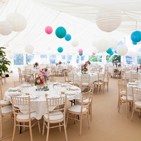 Marquee Wedding at The Coppleridge Inn | Round Tables | Pom Poms