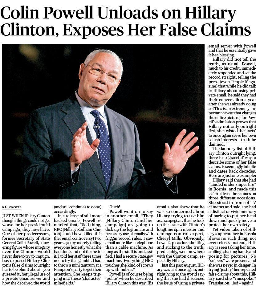 Colin Powell Exposes Hillary Clinton