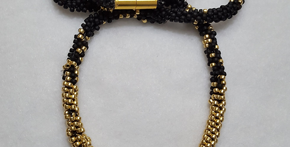 Hand beaded braided necklace