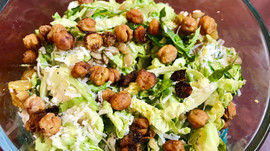 Lemon Pepper Chickpea & Shaved Brussels Salad