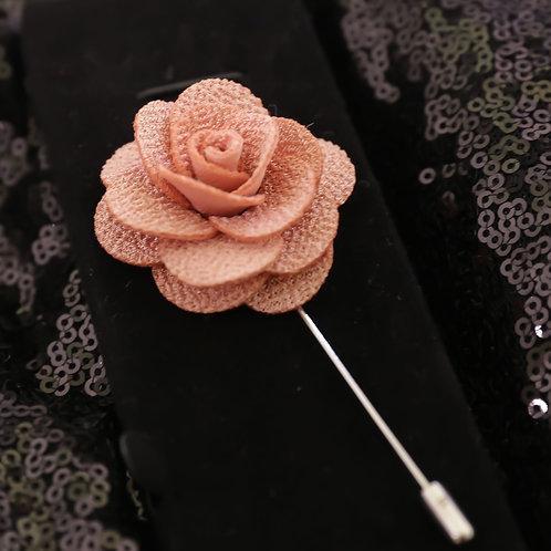 Salmon Premium Fabric Flower Lapel Pin