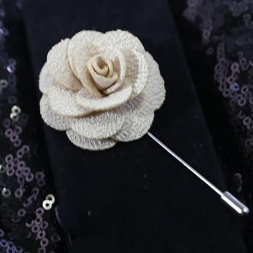 Light Beige  Premium Fabric Flower Lapel Pin