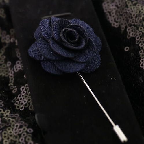 Navy Blue Premium Fabric Flower Lapel Pin