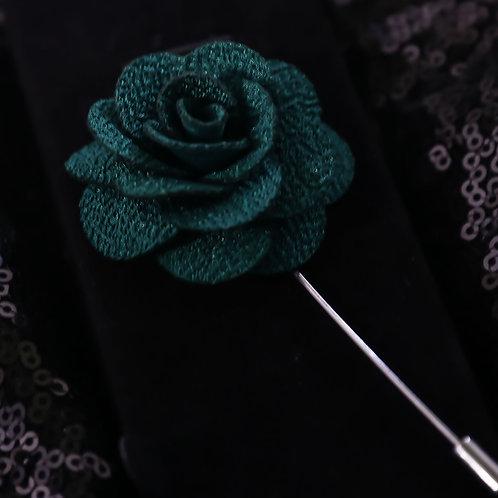 Dark Green Premium Fabric Flower Lapel Pin