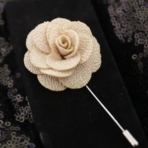 Beige Premium Fabric Flower Lapel Pin