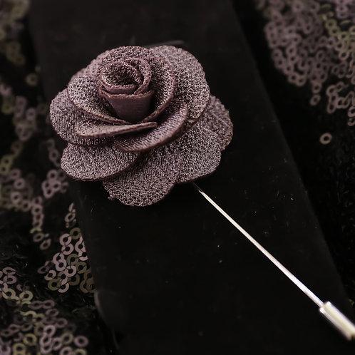 Stone gray  Premium Fabric Flower Lapel Pin