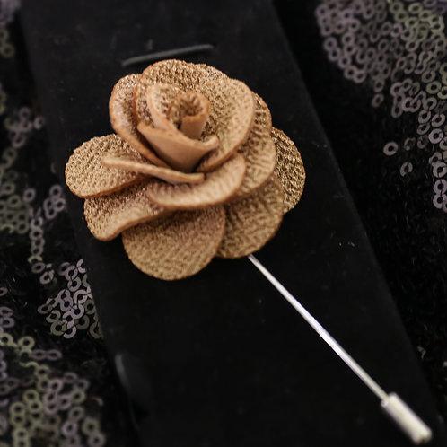 Mocha Premium Fabric Flower Lapel Pin