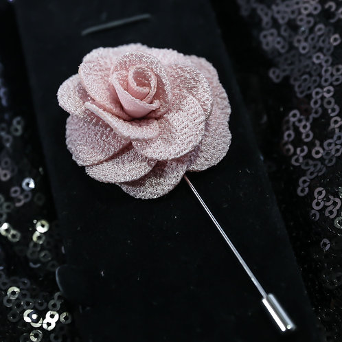 Pink Premium Fabric Flower Lapel Pin