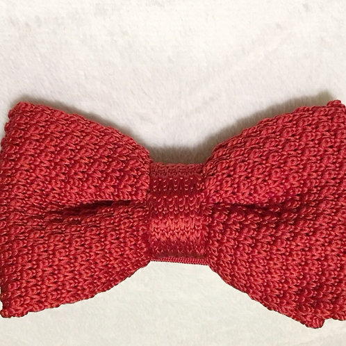 Apple Red Wooven Bow Tie