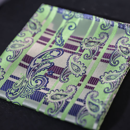 Green Embrace - Paisley and Stripes