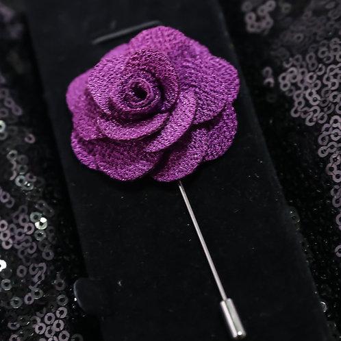Purple Premium Fabric Flower Lapel Pin