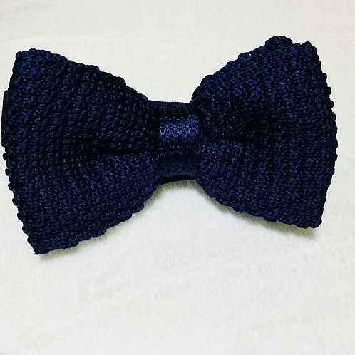 Navy Blue Wooven Bow Tie