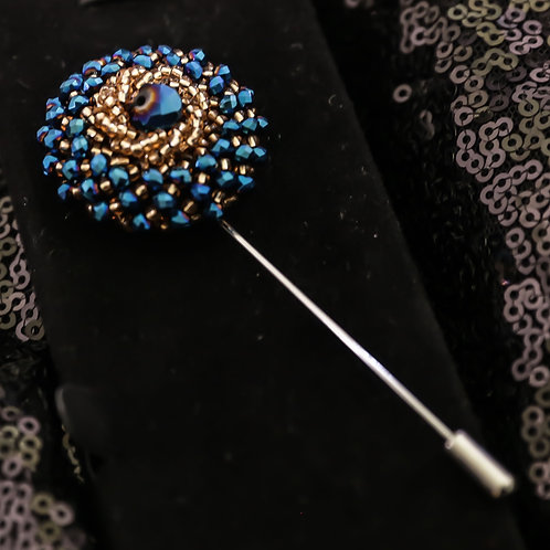 Blue and Gold Jeweled Beaded Brooch