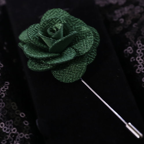 Emerald green Premium Fabric Flower Lapel Pin