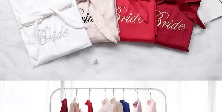 Custom Bride Robe Letter Embroidered Satin