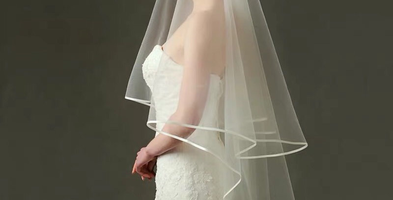 Finger-tip Length Veil with Comb, and Satin Detail